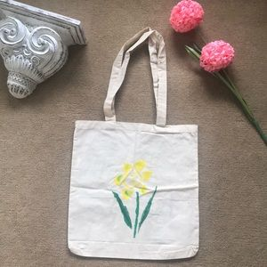 Canvas bag with painted flowers